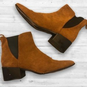 ZARA Brown Suede Stretch Booties
